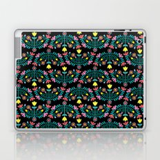 Folk Flowers Black Laptop & iPad Skin