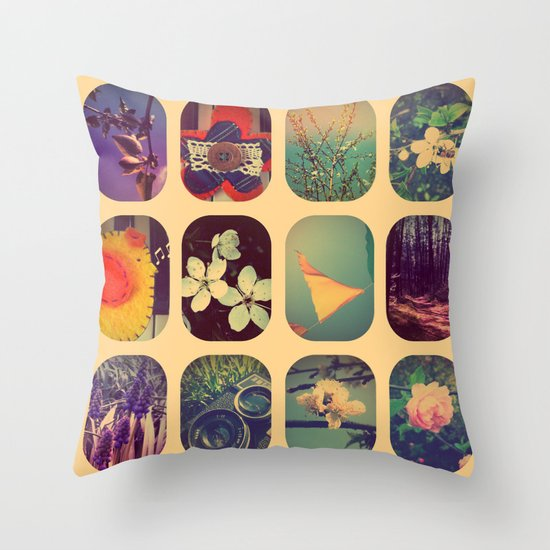 Spring collage Throw Pillow