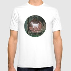 The white Deer Of Winter In Green Mens Fitted Tee SMALL White