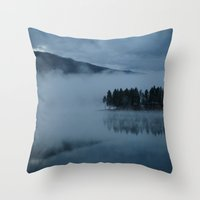 Foggy lake morning Throw Pillow