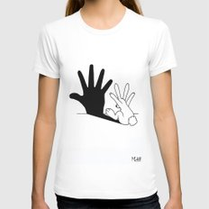 Rabbit Hand Shadow Womens Fitted Tee White LARGE