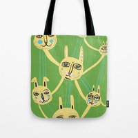 Connected Rabbits Tote Bag