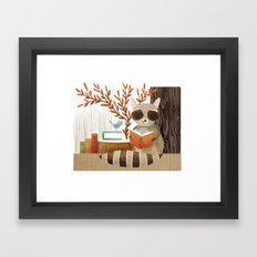 The Bookish Forest: Raccoon Framed Art Print