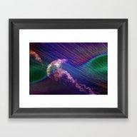 Jellyfish In Roaring Wav… Framed Art Print