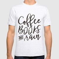 Coffee Books And Rain Art Print Mens Fitted Tee Ash Grey SMALL