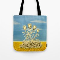 Silver Flowers on Golden Grass Tote Bag