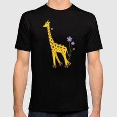 Funny Giraffe Roller Skating Mens Fitted Tee Black SMALL