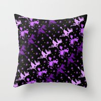 Witches Starry Night Pat… Throw Pillow