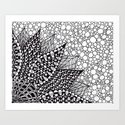 Black and White Flower Illustration Art Print