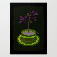 Purple Planted Teacup Art Print