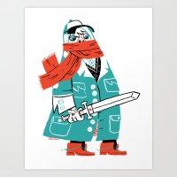 Creepy Scarf Guy Art Print