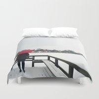 Copenhagen - Red Umbrell… Duvet Cover