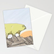 a pug turns into a rock robot Stationery Cards
