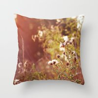 Golden Dandelions. Throw Pillow