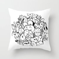 happy circle doodle Throw Pillow