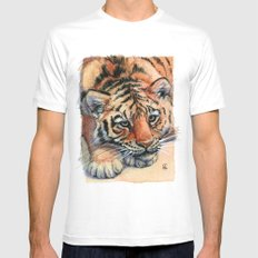Resting Tiger Cub 896 SMALL Mens Fitted Tee White