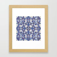 Gold & Blue Geo Framed Art Print