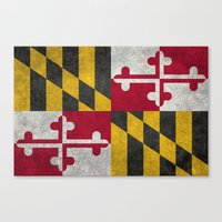 State flag of Flag of Maryland - Vintage retro style Canvas Print