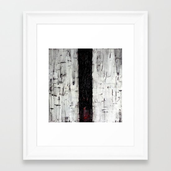 Dark Path - Black and white abstract Framed Art Print