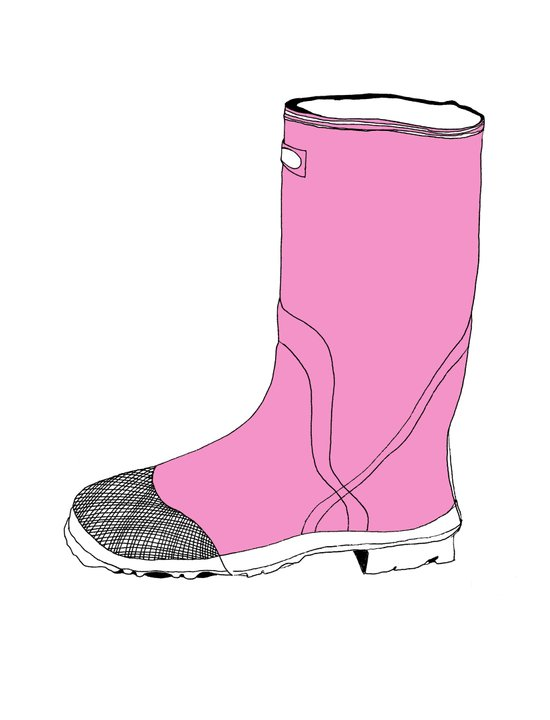 Whimisical Wellie in Pink Art Print
