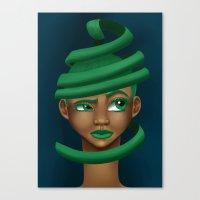 Green Swirls Canvas Print