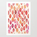 Watercolor Leaf Pattern in Autumn Colors Art Print