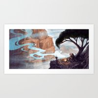 Mist-Covered Mountain Art Print