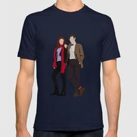 Matt Smith As Dr Who And… Mens Fitted Tee Navy SMALL