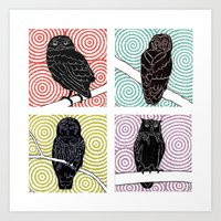 4 Owls On Branches Art Print