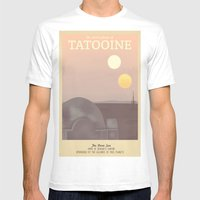 Retro Travel Poster Series - Star Wars - Tatooine Mens Fitted Tee White SMALL