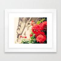 Paris red flowers Framed Art Print