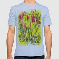 Summer Flowers Art Mens Fitted Tee Athletic Blue SMALL