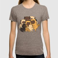 Pugs Group Hug Womens Fitted Tee Tri-Coffee SMALL