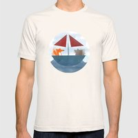 Fox & Wolf In A Tub Mens Fitted Tee Natural SMALL