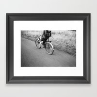 Bicycle In Motion Framed Art Print