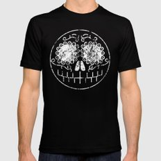 Distressed Sugar Skull Mens Fitted Tee Black SMALL