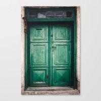 Green old door Canvas Print