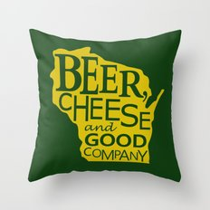 Green and Gold Beer, Cheese and Good Company Wisconsin Throw Pillow