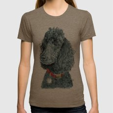 Whitney the Poodle Womens Fitted Tee Tri-Coffee SMALL