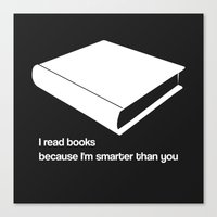 I read books white - funny graphic illustration Canvas Print