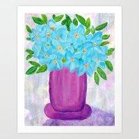 Magenta Vase with Aqua Flowers Art Print