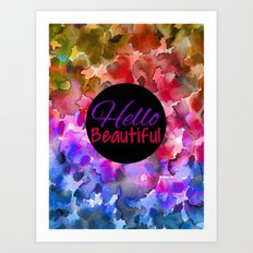 HELLO BEAUTIFUL Colorful Art Typography Inspirational Abstract Watercolor Painting Ombre Rainbow Art Print
