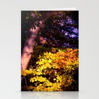 Yellow fall leaves Stationery Cards