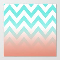 TEA CHEVRON CORAL FADE Canvas Print