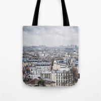 Snowy Paris Tote Bag