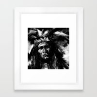 Primal - B&W Portrait of Native American Framed Art Print