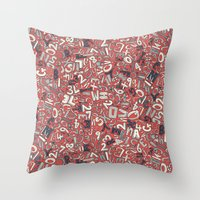 A1B2C3 coral red Throw Pillow
