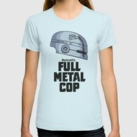 Full Metal Cop Womens Fitted Tee Light Blue SMALL