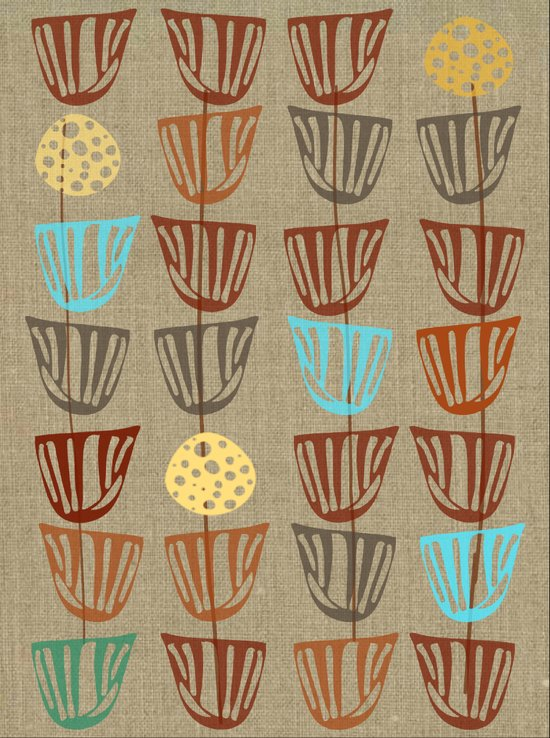 Pods and Seeds 2 on Linen Art Print