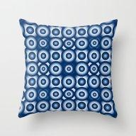 Blue Monochrome Geometri… Throw Pillow